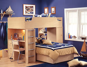 Double Loft Beds are useful if you have an awkward shaped loft bedroom. You can use the space much better with one a loft bed