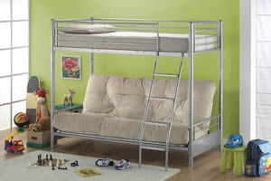 This photo shows a typical futon bunk bed in a childs bedroom. A comfortable seating area is available underneath the top bunk, which can be converted into a bed also. The manufacturer of this bed is Joseph