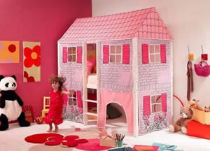 This wendy house is actually a girls themed bed for kids made from solid scandinavian pine frame with a plastic tent over the cabin bed area. Perfect for girls bedrooms