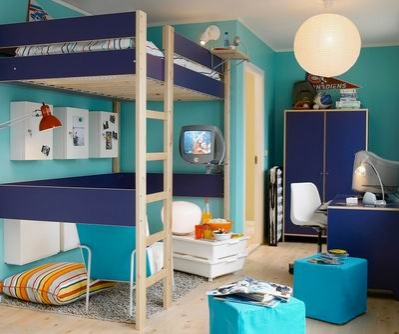 This image shows Loft Bed in a typical Boys bedroom. Room colours are blue and turquoise with lots of space underneath the top bunk
